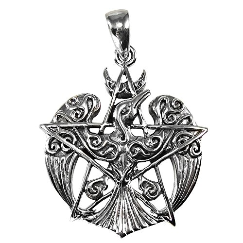 Sterling Silver Crescent Raven Pentacle Pendant - 153 Pendant