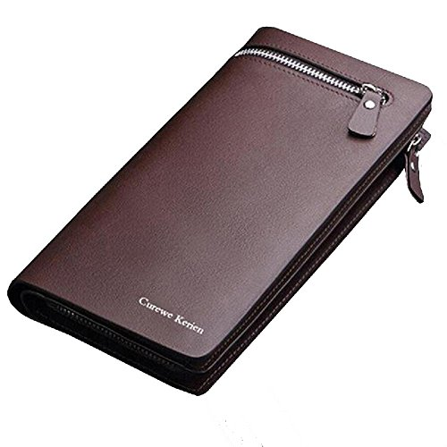 FXTXYMX Long Clutch Wallets Faux Leather Zippered Card Holder Purse Handbag for Men (Brown) Zippered Faux Leather Purse