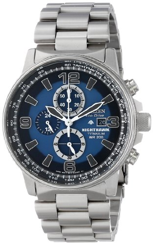 Citizen Men's CA0500-51L  Eco-Drive Titanium Nighthawk Chronograph Watch