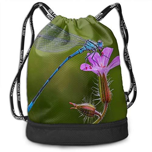 Sport Unisex Bundle Drawstring Backpack Pinky Blue Flower Rest Dragonfly Animals Travel Durable Large Space Gym Sack Trendy Waterproof Multifunction Drawstring Bag