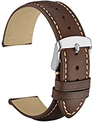 WOCCI 20mm Watch Band - Dark Brown Vintage Leather Watch Strap with Silver Buckle (Contrasting Stitching)