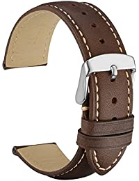20mm Watch Band - Dark Brown Vintage Leather Watch Strap with Silver Buckle (Contrasting Stitching)