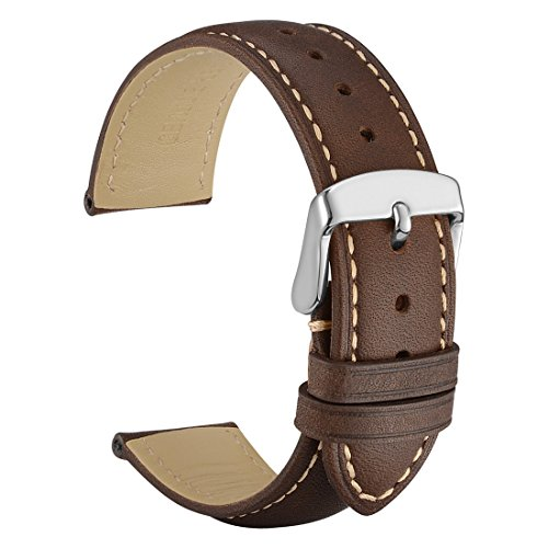 18mm Brown Leather Bands Strap - WOCCI 18mm Vintage Leather Watch Band with 16mm Pins Buckle, Replacement Watch Strap (Dark Brown / Contrasting Seam)