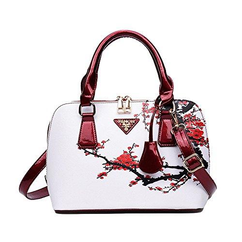 Bolsos Impresos Para Las Mujeres Shopper Bag Shell Bolsos De Lujo Elegantes Del Hombro Floral Beige