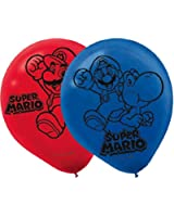 Amscan Boys Super Mario Brothers Birthday Party Printed Balloons(Pack Of 6), Red/Blue, 12""