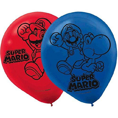 Amscan Boys Super Mario Brothers Birthday Party Printed Balloons(Pack Of 6), Red/Blue, 12