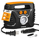Kensun AC/DC Power Supply Portable Air Compressor Pump with Analog Display to 120 PSI for Home (110V) and Car (12V), Tire Inflator with Adaptors for Cars, Trucks, Bicycles, Balls