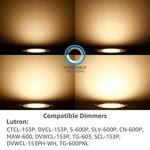 TORCHSTAR 10W 4'' Ultra-Thin Recessed Ceiling Light with Junction Box, 3000K Warm White Wafer Light, Dimmable Downlight, 650lm 80W Equivalent ETL and Energy Star Certified, Pack of 6 by TORCHSTAR (Image #6)'