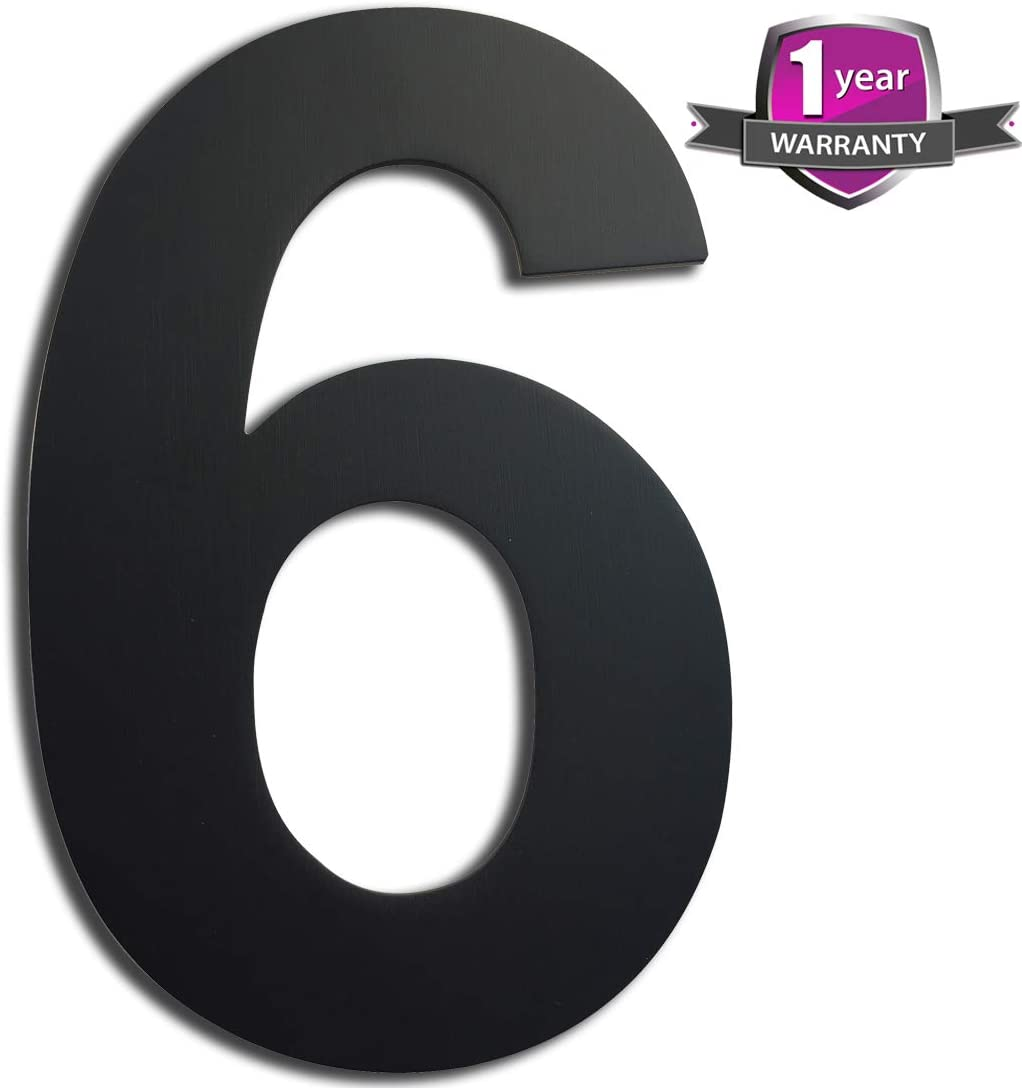 "House Number, 6"" Home Address Decor, Outdoor Door Number, Modern Black Address Number, Road Sign, 304 Brushed Stainless Steel, Floating Appearance Customized Address Sign for Home Hotel Office"