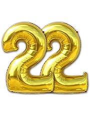 2 قطعة بالون لحفلات أعياد الميلاد رقم 22 قطعة (1 متر) ذهبية اللون هيليوم فويل هابي