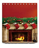 LB Merry Christmas Season Eve New Year Decorative Decor Gift Shower Curtain Polyester Fabric 3D Digital Printing 72x72'' Mildew Resistant Fireplace Red Stocking Green Branch Bathroom Bath Liner Set