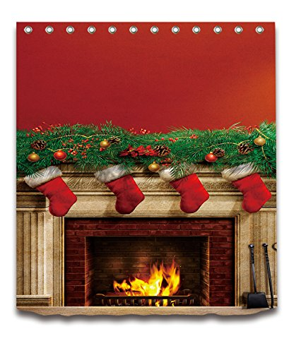 LB Merry Christmas Season Eve New Year Decorative Decor Gift Shower Curtain Polyester Fabric 3D Digital Printing 72x72'' Mildew Resistant Fireplace Red Stocking Green Branch Bathroom Bath Liner Set by LB™<p><B>See More Click Here</B>
