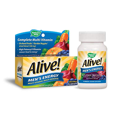 Nature's Way Alive!® Men's Energy Multivitamin Tablets, Fruit and Veggie Blend (100mg per serving), 50 Tablets