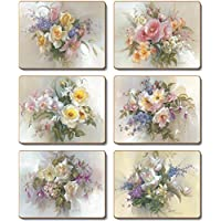Country Kitchen Romance Floral Cork Backed Placemats Set 6 New Cinnamon