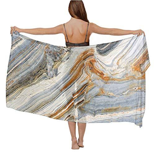 Stylish Light Shawl - Holiday Evening Party Swimsuit Scarves Luxurious Silk Cover Up Long Summer Elegant Stole Paisley Shawls - Marble Mixed Tones Colorful Rock Background Chiffon -