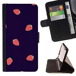 - Queen Pattern FOR Samsung Galaxy S6 /La identificaci????n del cr????dito ranuras para tarjetas tir????n de la caja Cartera de cuero cubie - strawberry summer berries purple red