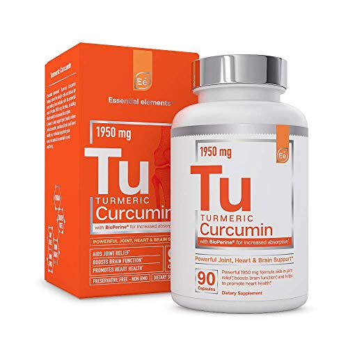 Turmeric Curcumin - Joint, Heart & Brain Support - with Bioperine for Increased Absorption - Essential Elements | 1950 mg - 90 Capsules ()