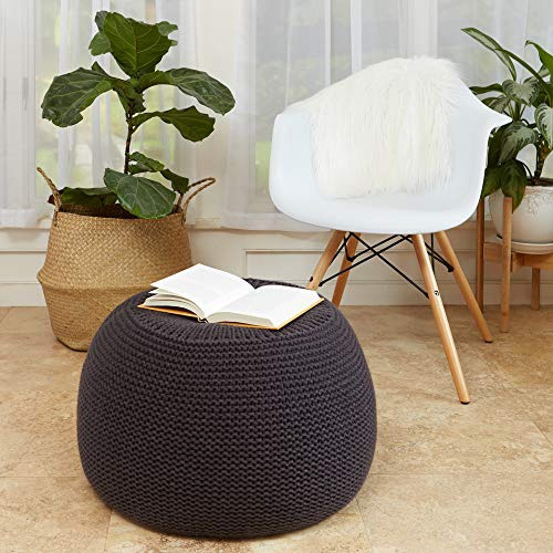 Sunsnap Pouf Ottoman Foot Rest Chair - Dark Gray Soft Chunky Knit Cover - Boho Floor Pouffe Ottomans Cushion - Round Accent Poufs Seat for Living Room Bedroom Dorm Nursery Meditation [NOT Stuffed]