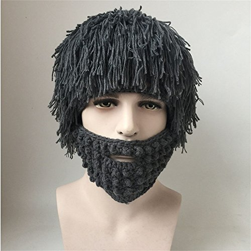 Jenny Shop Beard Wig Hats Handmade Knit Warm Winter Caps Men Women Kid (Grey, Adult) (Halloween Parties In Los Angeles 2017)