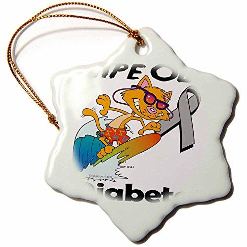 3dRose Dooni Designs Cause Awareness Ribbon Designs - Wipe Out Diabetes Awareness Ribbon Cause Design - 3 inch Snowflake Porcelain Ornament (orn_115148_1) -