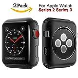 Apple Watch Series 3 Case 38mm, MYECOGO [2 Pack] iWatch 3 Super Thin Transparent Soft TPU Protective Bumper Cover Case for 2017 Apple Watch series 3 and Series 2 38mm TPU Black