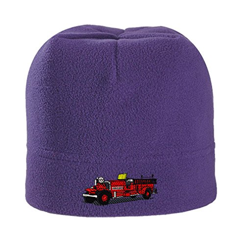 Antique Fire Truck Embroidery - Antique Fire Truck Embroidery Design Stretch Fleece Beanie Purple