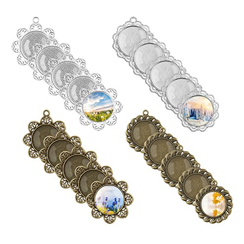 Accmor 20 Pcs Pendant Trays Round Bezel with 20 Pieces Glass Dome Tiles Cabochon for Crafting DIY Jewelry Making, 25 mm/1 inch Diameter, 40 ()