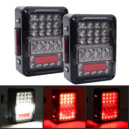- DOT Approved 4D LED Tail Lights for 2007-2017 Jeep Wrangler JK Brake Reverse Light Rear Back Up Lights Daytime Running Lamps,EMC Build-in