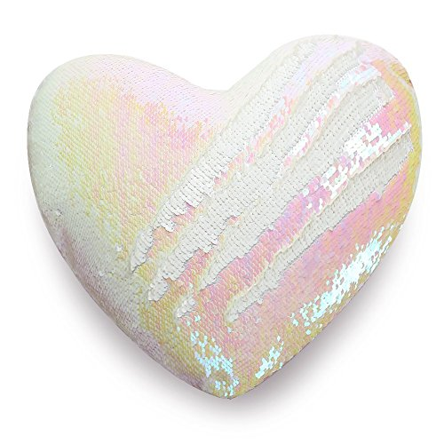 U-miss Mermaid Pillow with Pillow Insert By, Two-color Decorative Heart Shape Reversible Sequin Pillow 13''×15'' (Heart-Shaped, Pink-White)