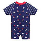 HUANQIUE Baby Boys One-Piece Swimsuit Short Sleeve