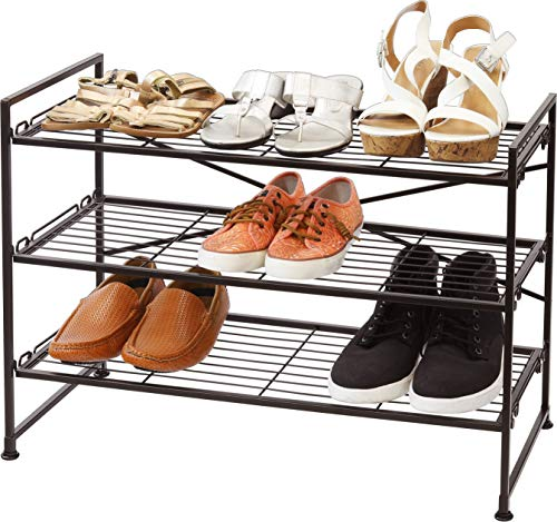 Simple Houseware Stackable Wire Grid Shoes Rack, Bronze (Shoes Closet For Rack)