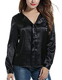 Meaneor Women's Solid Casual Loose V Neck Shirt Blouse Long Sleeve Satin Tops