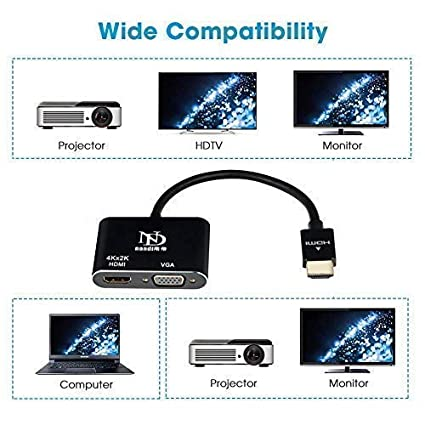 Adapter HDMI to VGA DVI Black Nandi 4 in 1 Multiport Adapter with Audio Jack 4K High Resolution HDMI Converter Male to VGA DVI Female for Monitor HDTV Projector