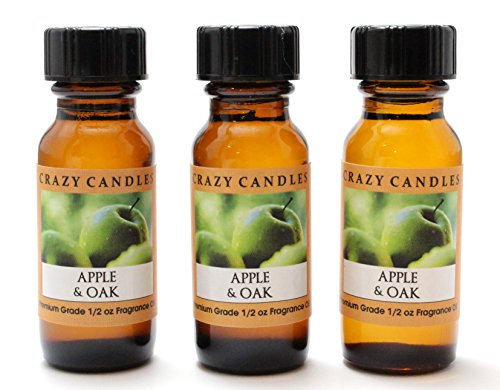 Crazy Candles Apple & Oak 3 Bottles 1/2 Fl Oz Each (15ml) Premium Grade Scented Fragrance Oil (Granny Smith Apples, Mcintosh, Oak Leaves and Oak Moss)