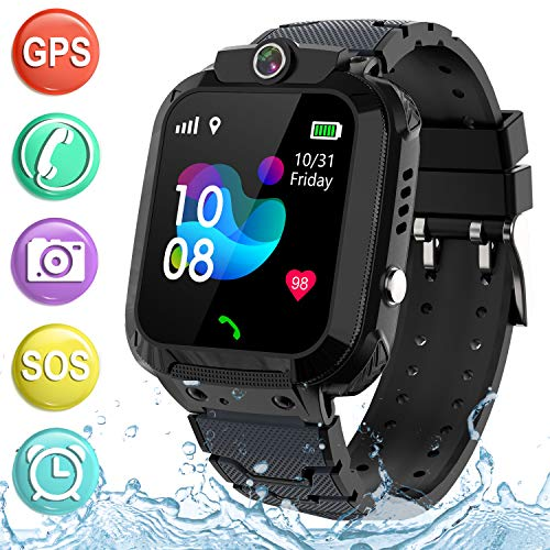 "Kids Smartwatch GPS Tracker Phone - 2019 New Waterproof Children Smart Watches with 1.4"" Touch Screen SOS Phone Call Talkie Walkie Pedometer Fitness Sports Band for Boys Girls Age 4-12 (Black)"