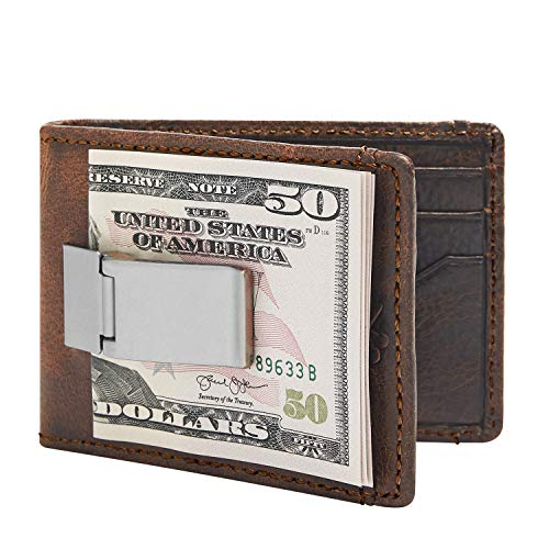 HOJ Co. Deacon ID BIFOLD Front Pocket Wallet-Full Grain Leather-Bifold Money Clip Wallet (Brown Natural Grain) (Money Clip Id Wallet)
