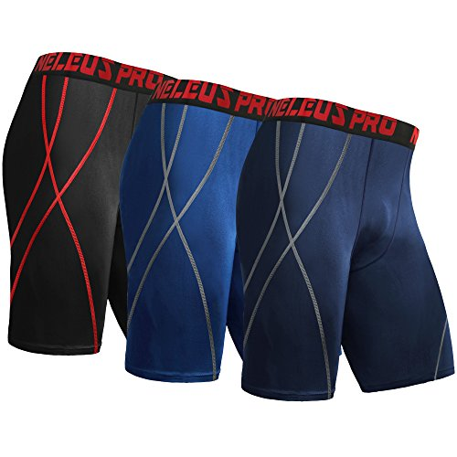 "Neleus Men's 9"" Running Compression Shorts,6010,3"