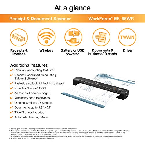 Epson Workforce ES-65WR Wireless Portable Sheet-fed Document Scanner with  Premium Accounting Features for PC and Mac