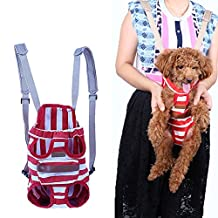 Kuoser Pet Travel Bags Dogs cats Legs Out Front Carriers Hands-free Adjustable Portable Outdoor Pet Backpack Carrier for Walking, Hiking, Bike and Motorcycle for 0-16 Lb dogs,Red L