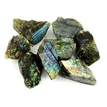 "Crystal Allies Materials - 1lb Bulk Rough Labradorite Stones from Madagascar - Large 1\""+ Raw Natural Crystals for Cabbing, Cutting, Lapidary, Tumbling, and Polishing & Reiki Crystal Healing *Wholesale Lot*"
