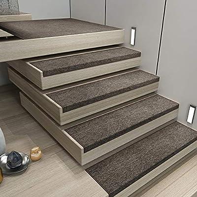 No-resbalón Treads De Escalera Conjunto De 15,interior Alfombrillas De Escalera Con Respaldo Autoadhesivo,espesado Rectángulo Alfombra Treads Para Mármol Madera Decoración Marrón 26x75cm(10x30inch): Amazon.es: Hogar