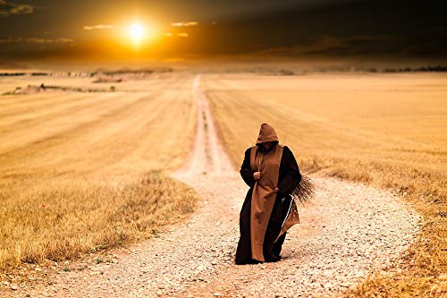 Home Comforts Peel-n-Stick Poster of Sunset Path Afternoon Monks Landscape Vivid Imagery Poster 24 x 16 Adhesive Sticker Poster Print