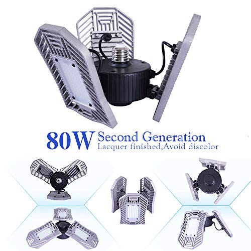 Garage Lighting 80W,Led Garage Lights 8000lm,E26 Garage Light,led Garage Ceiling Lights,Led Shop Lights,Workshop Light,Garage led Bulbs,Super Bright led Bulbs Light (Daylight, -