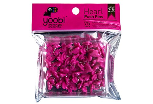 Yoobi Heart Push Pins - Pink75 Pack ()