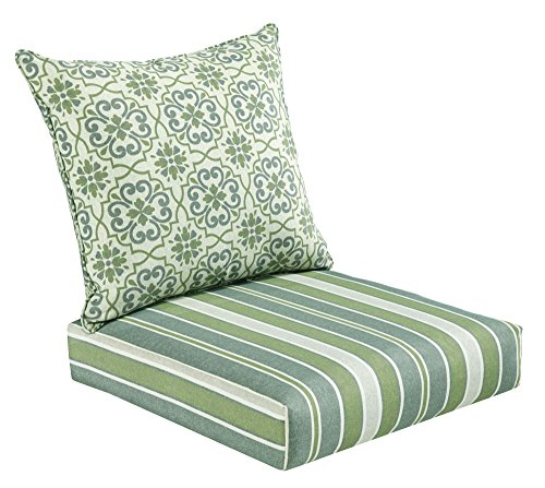 Bossima Indoor and Outdoor Cushion, Comfortable Deep Seat Design, Premium 24 inch Replacement Cushion, Includes Seat and Backrest, Green/Grey - Wicker Ocean Sofa
