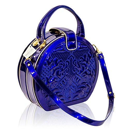 Valentino Orlandi Designer Italien Cobalt Bleu Sac en cuir brodé rond