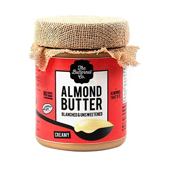 The Butternut Co. Almond Butter Blanched (Without Skin) & Unsweetened, Creamy 200 gm (No Added Sugar, Vegan, Keto)