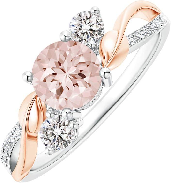 SunYueY Anillo de circonia para mujer, separador de color, oro rosa, anillo de hojas, accesorios de joyería
