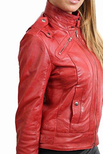 Femmes Biker Style Aménagée Design Tendance Veste en Cuir Réel Slim Fit Rose Rouge