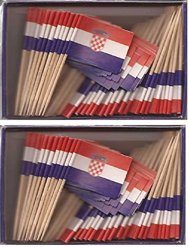 - 2 Boxes of Mini Croatia Toothpick Flags, 200 Small Mini Croatian Flag Cupcake Toothpicks or Cocktail Sticks & Picks